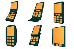 Mobile Phones Icons and Types Set Royalty Free Stock Photos