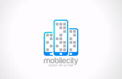Mobile phones logo design. Mobile city business co. Mobile phones vector logo design template. Mobile city business concept. Touchphones are shown as skyscrapers Royalty Free Stock Images