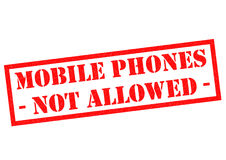 MOBILE PHONES NOT ALLOWED. Red Rubber Stamp over a white background Stock Illustration