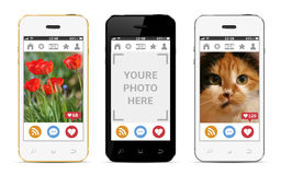 Mobile phones with photos template. Social network mock-up. Stock Photography