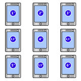 Mobile phones, screen size (inches) - set of vector icons Stock Image