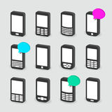 Mobile phones. Set of twelve different mobile phones Stock Photos