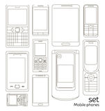 Mobile phones set Stock Photos