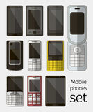 Mobile phones set stock illustration