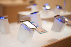 Mobile phones shop. Mobile phones displayed in shop Royalty Free Stock Image