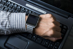 Mobile phones, smart watches and laptop computers Stock Photo
