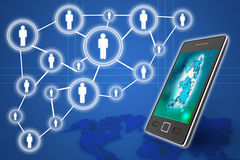 Mobile phones technology business concept, Creative network Royalty Free Stock Image