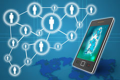 Mobile phones technology business concept, Creative network Royalty Free Stock Images