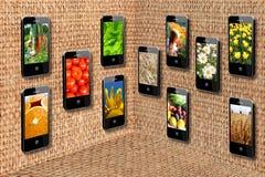 Mobile phones in three-dimensional flatness Stock Image