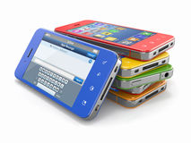 Mobile phones with touchscreen. Royalty Free Stock Photos
