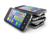 Mobile phones with touchscreen. 3d Royalty Free Stock Photo