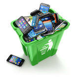 Mobile phones in trash can on white background. Utiliza. Tion cellphones concept. 3d Royalty Free Illustration