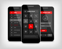 Mobile phones ui red buttons Stock Photography