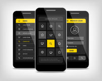 mobile phones ui yellow buttons Royalty Free Stock Photos