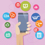 Mobile PhoneShopping Shoping Royalty Free Stock Photography