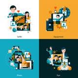 Mobile photo concept icons set vector illustration