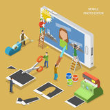 Mobile photo editor flat isometric vector concept. vector illustration