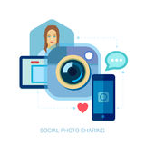 Mobile photo and selfie. Instant smartphone online. Social photo sharing and selfie flat design concept icons for web and mobile phone services and apps. Mobile Royalty Free Stock Images