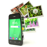 Mobile photography concept: touchscreen smartphone in camera. Mode and set of photos  on white Royalty Free Stock Images