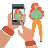 MOBILE PHOTOGRAPHY Flat Vector Illustration Set About Business Lady Photo Set. For Internet Social Media Portrait Profile stock illustration