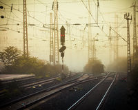 Mobile photography tone confusing rail tracks dusk royalty free stock photo