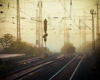 Mobile photography tone confusing rail tracks dusk Royalty Free Stock Photo