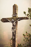 Mobile photography toned crucifixed Christ outdoor Stock Photography