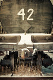 Mobile photography toned old obsolete railway car Royalty Free Stock Images