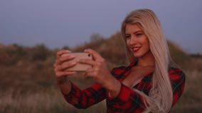 Mobile photography, woman take a photo of sunflower field. At sunset stock footage