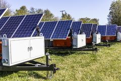 Indianapolis - Circa October 2017: Mobile Photovoltaic Solar Panels on trailers. The ultimate in portable and emergency power V Royalty Free Stock Photos