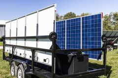 Indianapolis - Circa October 2017: Mobile Photovoltaic Solar Panels on trailers. The ultimate in portable and emergency power IV Stock Photo