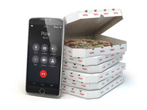 Mobile pizza ordering and delivery concept. Smartphone and pizza. Boxes. 3d illustration Stock Photos