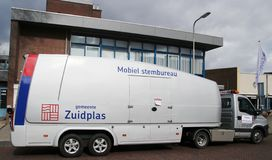 Mobile polling station in de municipality of zuidplas to be used at train station and retirement homes. Mobile polling station in de municipality of zuidplas to stock images