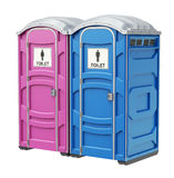 Mobile portable blue plastic toilet for male and female genders Royalty Free Stock Photography