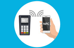 Mobile pos terminal. Paypass. NFC technology. Mobile payments and near field communication. Transaction and paypass and NFC. illustration Stock Photos