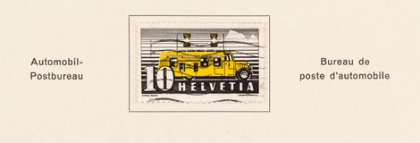 Mobile Post Office Stamp of Switzerland 1939. SEATTLE, WASHINGTON - June 11, 2019: Swiss stamp that could only be purchased from the  mobile post office bus  of stock photography