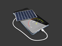 Mobile power pack with solar panels, isolated black, 3d Illustration Royalty Free Stock Photo