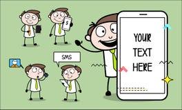 Mobile Presentation Concepts Cartoon Professional Businessman. Design vector illustration