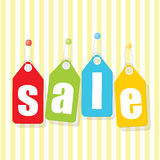 Mobile prix SALE poster labels with white letters. On colorful background Royalty Free Stock Images