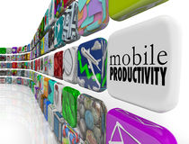 Mobile Productivity Apps Software Working Remotely on the Go vector illustration