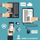 Mobile programs concept, flat design illustration,human hand with mobile phone, tablet Stock Images