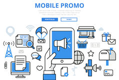 Mobile promo digital marketing concept flat line art vector icon. Mobile promo digital marketing promotion concept flat line art vector icons. Modern website Royalty Free Stock Image