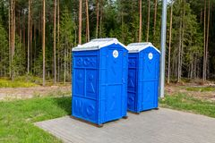 Mobile public toilets at the Russian highway number M11 Royalty Free Stock Images