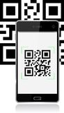 Mobile with qr code Stock Images