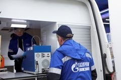 Mobile quality control laboratory of Gazpromneft company Stock Photography