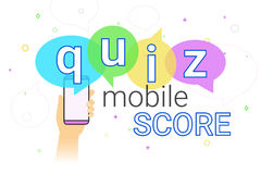 Mobile quiz interview and online high score game on smartphone concept illustration. Human hand holds smart phone with app for asking, examing and answering Stock Photography