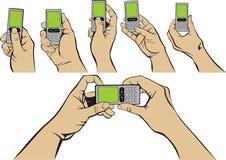 mobile ręce Obrazy Royalty Free