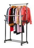 Mobile rack with clothes Stock Image