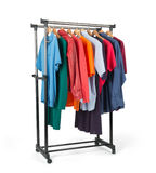 Mobile rack with clothes on white background Stock Photography