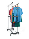Mobile rack with clothes on white background Stock Image